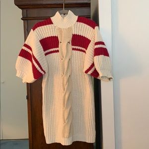 Women's free people ivory and red sweater dress